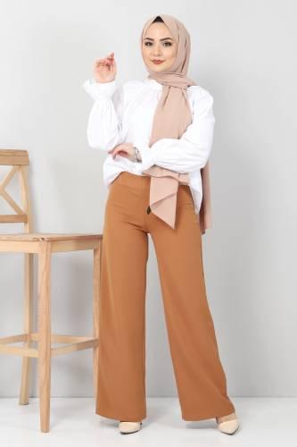Tesettür Dünyası - Bol Paça Kumaş Pantolon TSD12403 Taba (1)