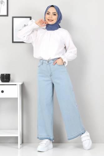 Tesettür Dünyası - Bol Paça Püsküllü Kot Pantolon TSD22050 Açık Mavi