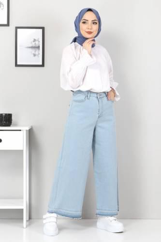Tesettür Dünyası - Bol Paça Püsküllü Kot Pantolon TSD22050 Açık Mavi (1)