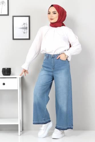 Tesettür Dünyası - Bol Paça Püsküllü Kot Pantolon TSD22050 Koyu Mavi