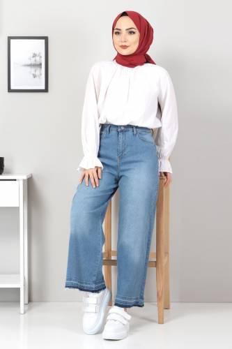 Tesettür Dünyası - Bol Paça Püsküllü Kot Pantolon TSD22050 Koyu Mavi (1)