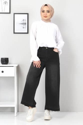 Tesettür Dünyası - Bol Paça Püsküllü Kot Pantolon TSD22050 Siyah