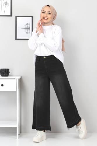 Tesettür Dünyası - Bol Paça Püsküllü Kot Pantolon TSD22050 Siyah (1)