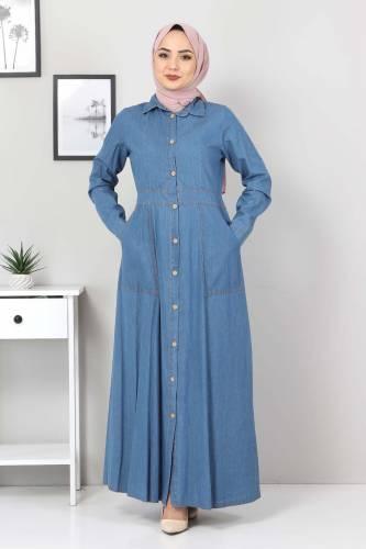 Tesettür Dünyası - Boydan Düğmeli Kot Elbise TSD0389 Açık Mavi