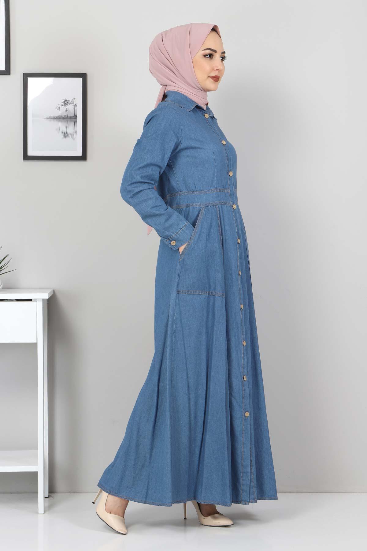 Boydan Düğmeli Kot Elbise TSD0389 Açık Mavi