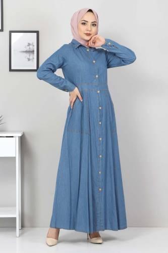 Boydan Düğmeli Kot Elbise TSD0389 Açık Mavi - Thumbnail