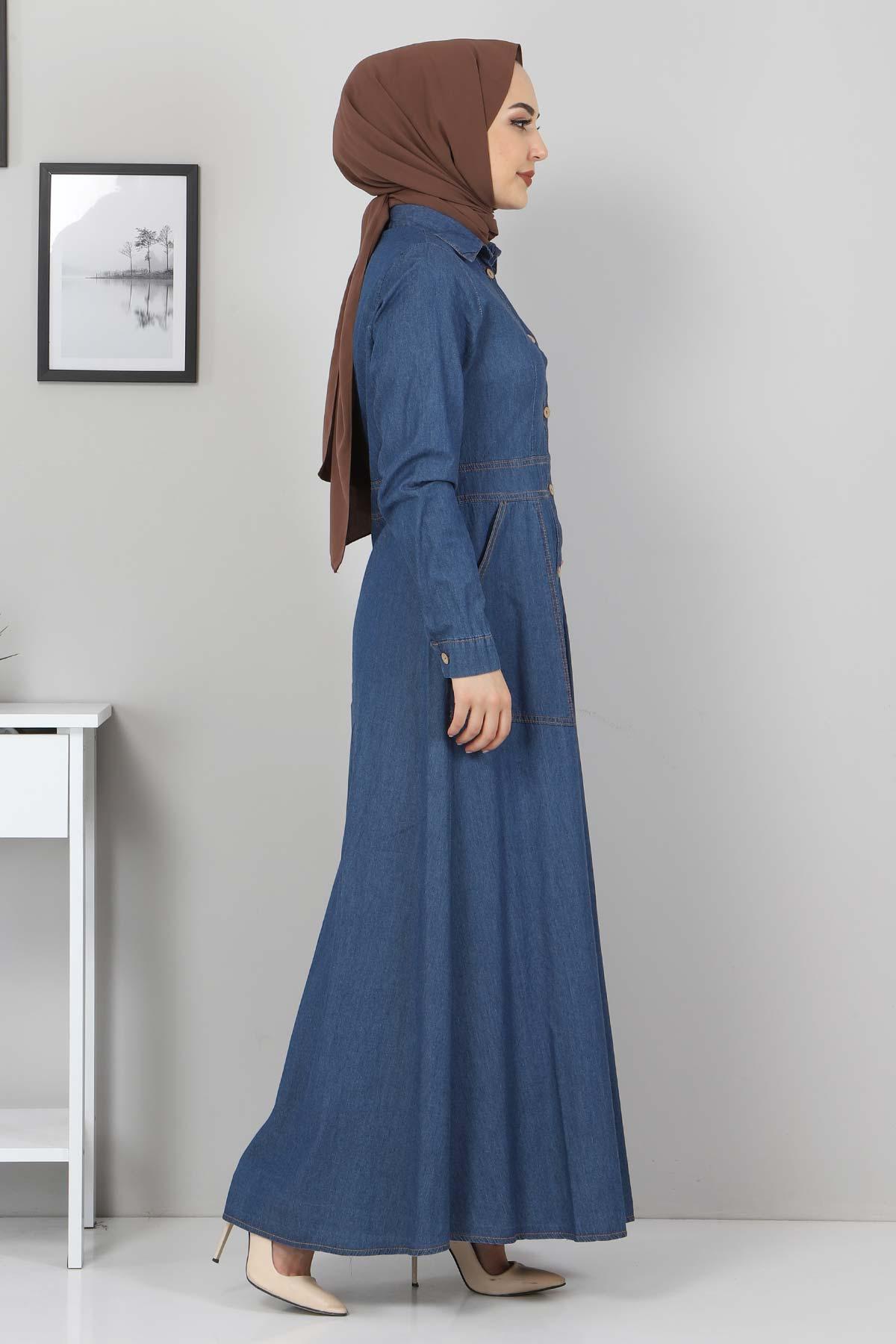 Boydan Düğmeli Kot Elbise TSD0389 Koyu Mavi