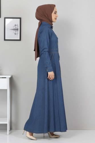 Boydan Düğmeli Kot Elbise TSD0389 Koyu Mavi - Thumbnail