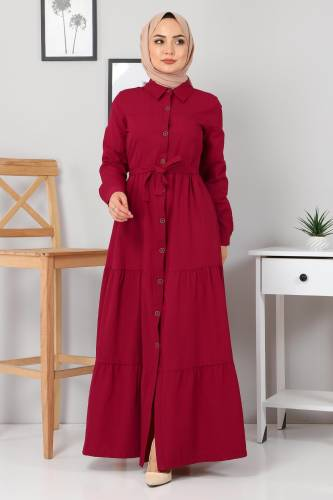 Tesettür Dünyası - Buttoned Veiling Dress TSD0172 Claret Red
