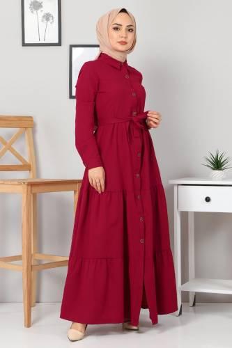 Tesettür Dünyası - Buttoned Veiling Dress TSD0172 Claret Red (1)