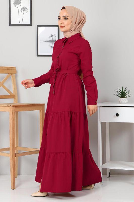 Boydan Düğmeli Tesettür Elbise TSD0172 Bordo