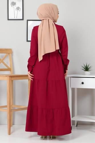 Boydan Düğmeli Tesettür Elbise TSD0172 Bordo - Thumbnail