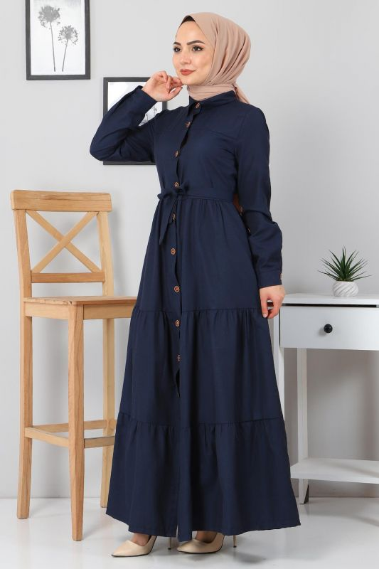 Boydan Düğmeli Tesettür Elbise TSD0172 Lacivert