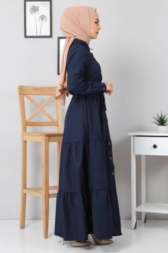 Boydan Düğmeli Tesettür Elbise TSD0172 Lacivert - Thumbnail