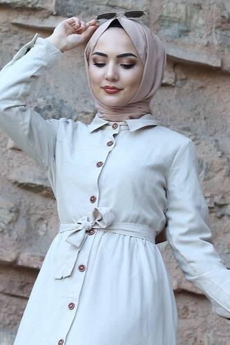 Tesettür Dünyası - Boydan Düğmeli Tesettür Elbise TSD0172 Bej (1)