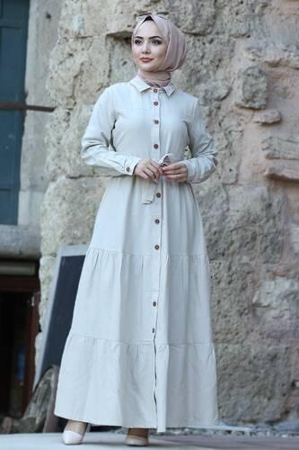Tesettür Dünyası - Boydan Düğmeli Tesettür Elbise TSD0172 Bej
