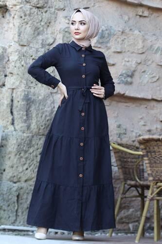 Tesettür Dünyası - Boydan Düğmeli Tesettür Elbise TSD0172 Siyah