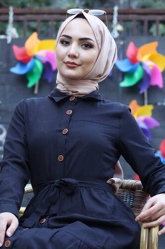 Tesettür Dünyası - Boydan Düğmeli Tesettür Elbise TSD0172 Siyah (1)