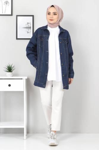 Tesettür Dünyası - Boyfriend Kot Ceket TSD07536 Koyu Mavi