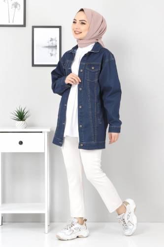Tesettür Dünyası - Boyfriend Kot Ceket TSD07536 Koyu Mavi (1)