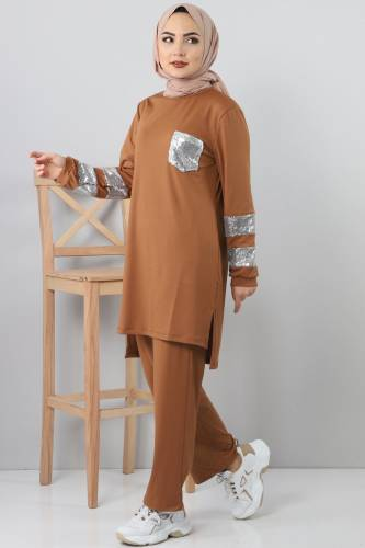 Sequined Tracksuit Suit TSD1982 Brown - Thumbnail