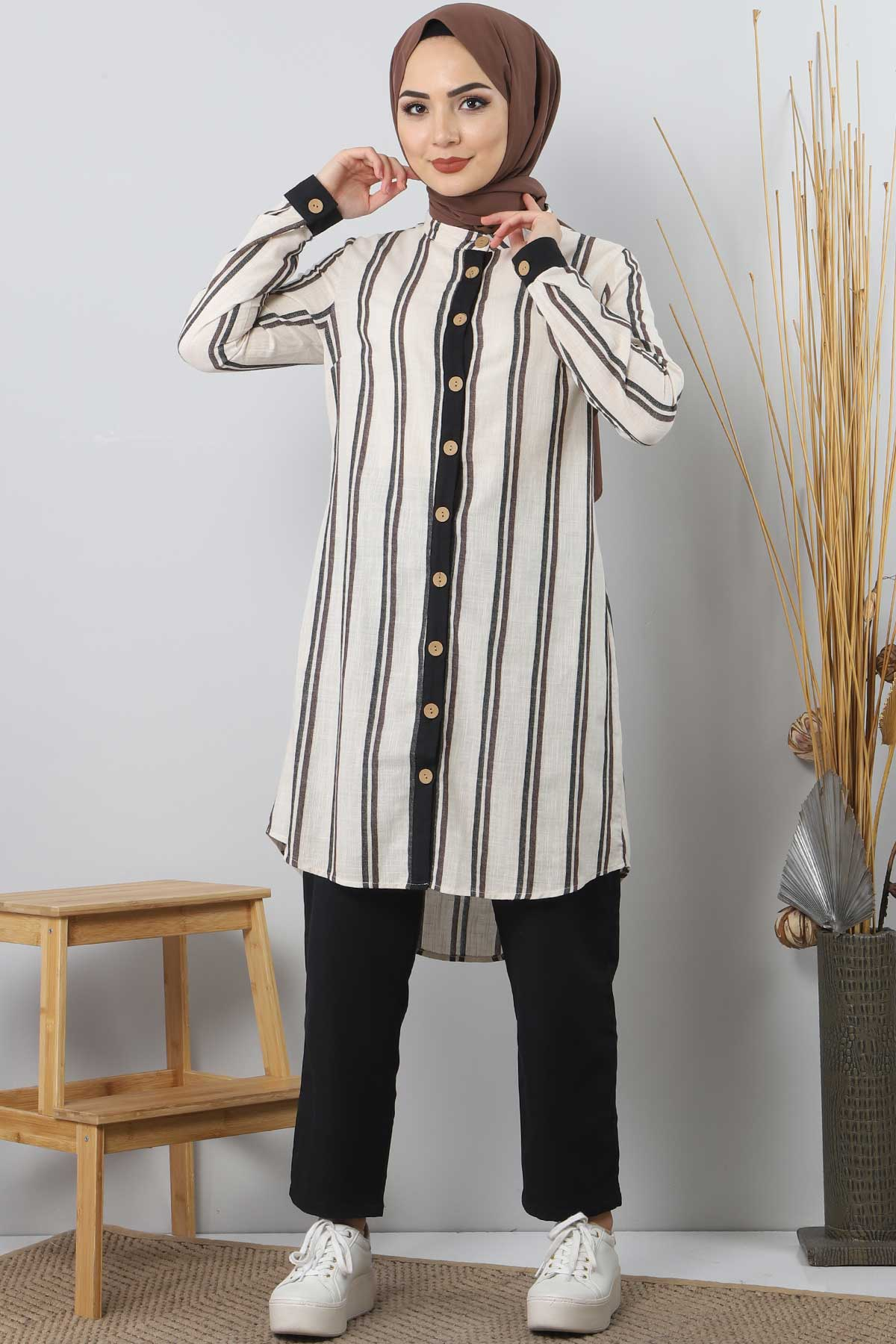 Button Double Suit TSD1504 brown