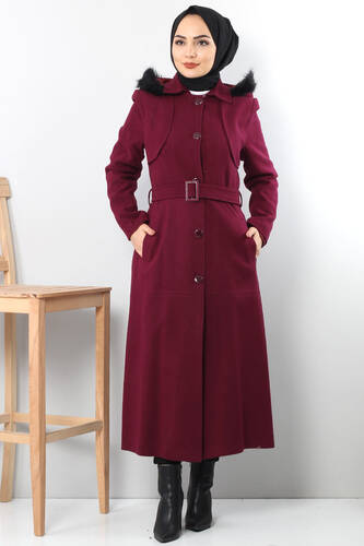 Tesettür Dünyası - BUTTONED AND DAMSON FUR COAT TSD1840