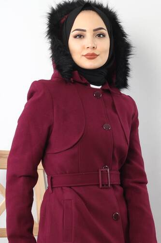 Tesettür Dünyası - BUTTONED AND DAMSON FUR COAT TSD1840 (1)