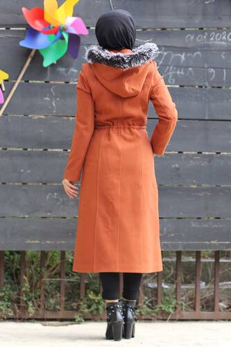 Buttoned Cachet Coat TSD9924 Orange - Thumbnail