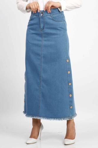 Tesettür Dünyası - Buttoned Denim Skirt TSD1740