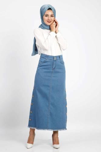 Tesettür Dünyası - Buttoned Denim Skirt TSD1740 (1)