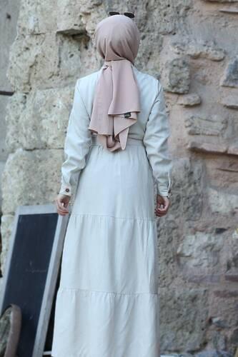 Buttoned Dress TSD0172 Beige - Thumbnail