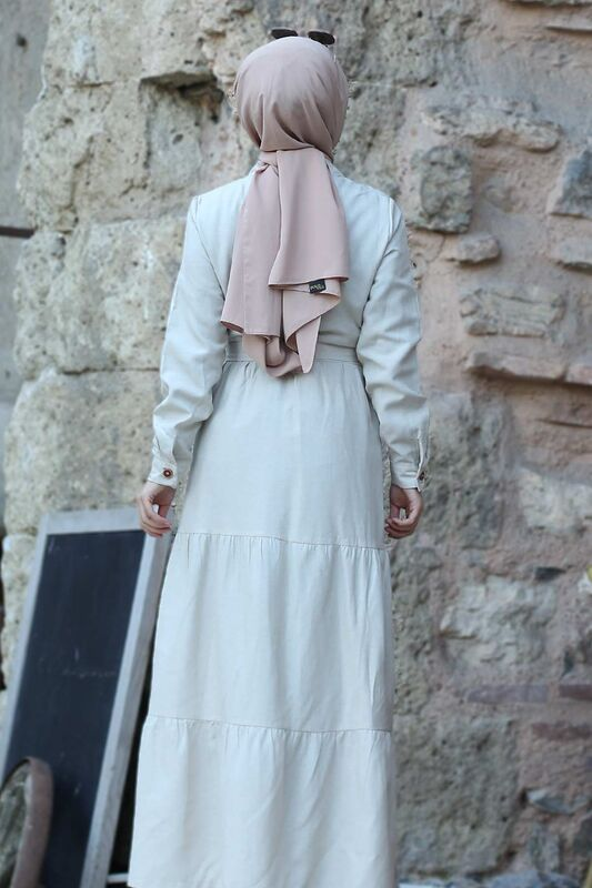 Buttoned Dress TSD0172 Beige