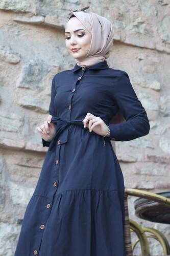 Buttoned Dress TSD0172 Black - Thumbnail