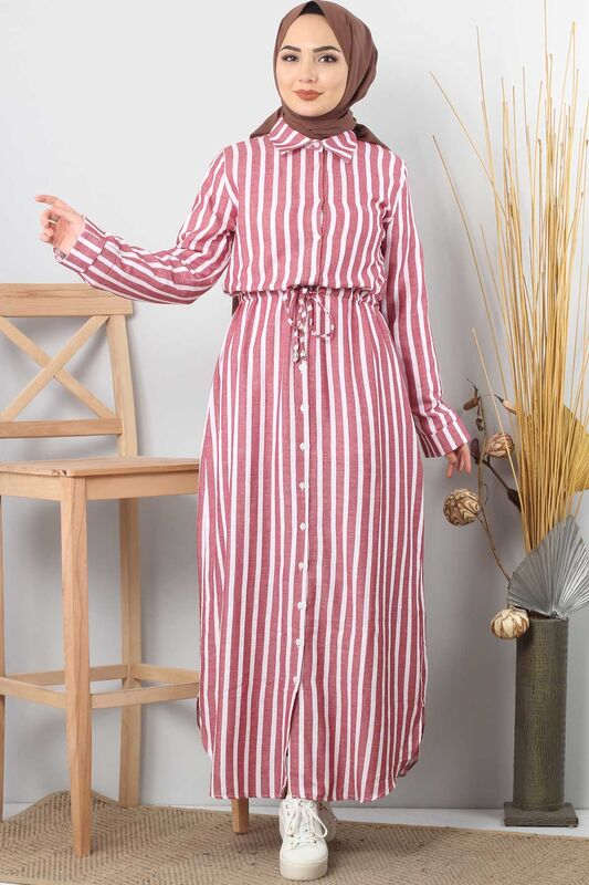 Buttoned Long Striped Dress TSD0503 Red