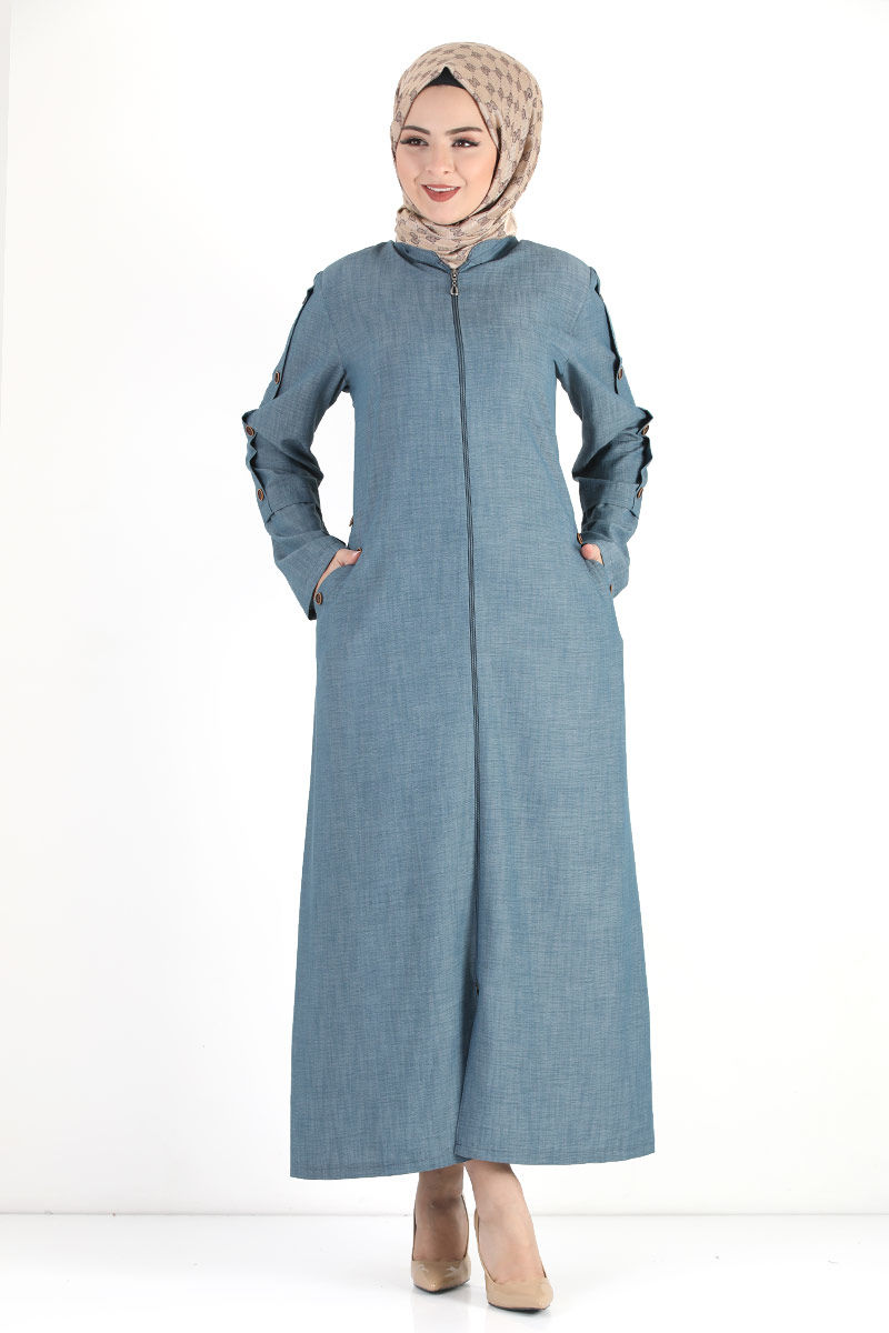Buttoned Sleeve Large Size Overcoat TSD8889 Light Blue