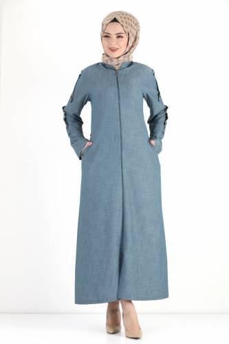 Tesettür Dünyası - Buttoned Sleeve Large Size Overcoat TSD8889 Light Blue