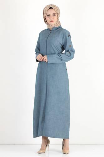 Tesettür Dünyası - Buttoned Sleeve Large Size Overcoat TSD8889 Light Blue (1)