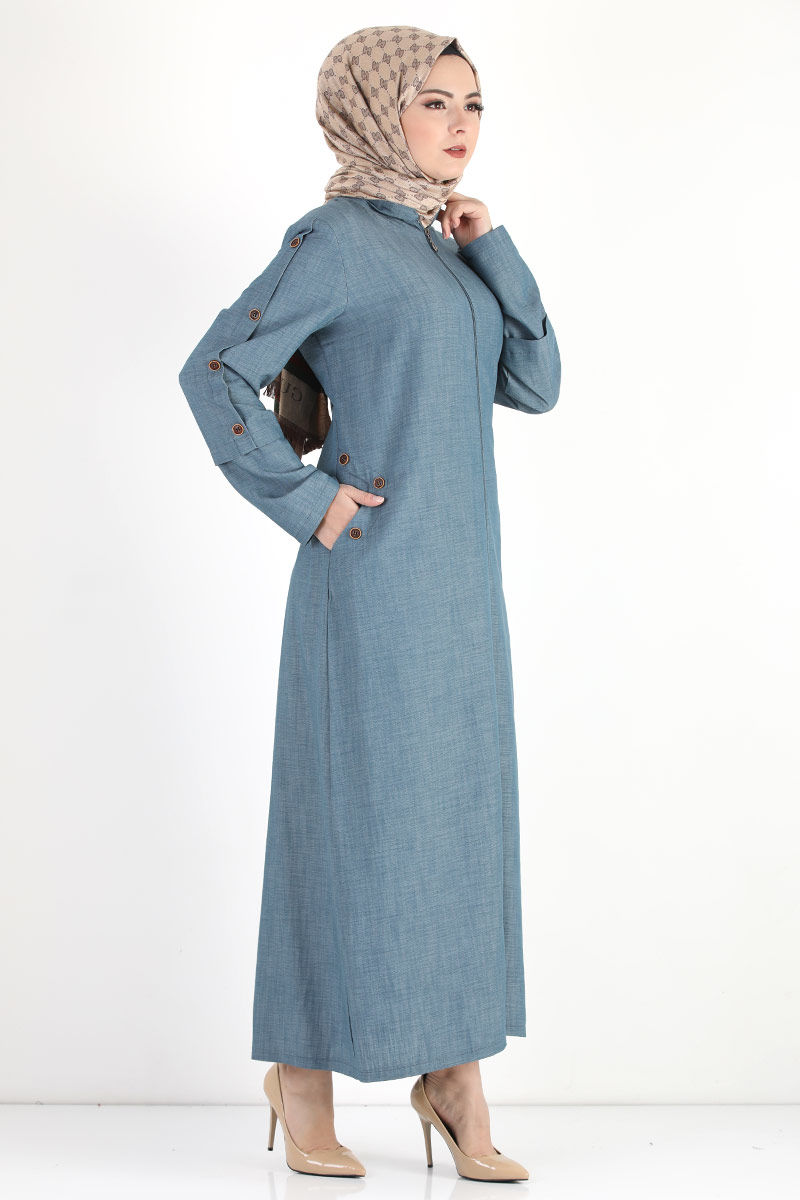 Buttoned Sleeve Large Size Overcoat TSD8889 Light Blue