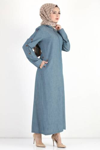 Buttoned Sleeve Large Size Overcoat TSD8889 Light Blue - Thumbnail