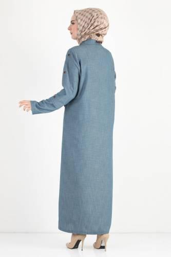Buttoned Sleeve Large Size Overcoat TSD8889 Light Blue - Thumbnail