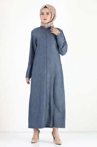 Tesettür Dünyası - Buttoned Sleeve Oversized Overcoat TSD8889 Dark Blue