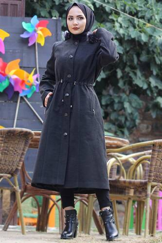 Buttoned Stamp Coat TSD9924 Anthracite - Thumbnail