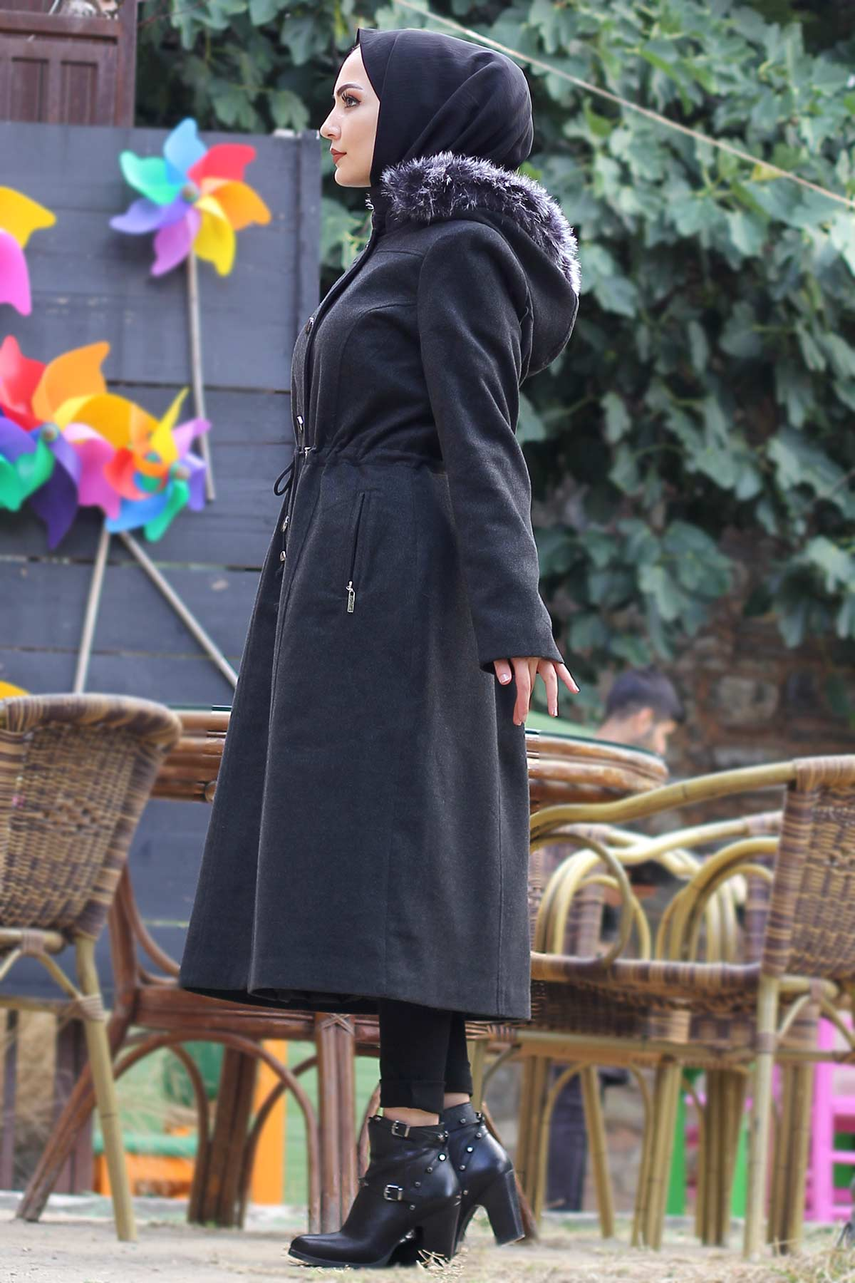 Buttoned Stamp Coat TSD9924 Anthracite