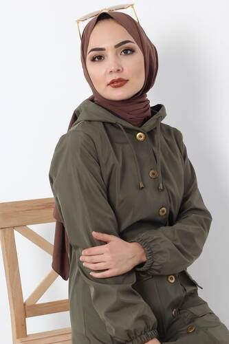 Buttoned Waterproof Coat TSD0361 Khaki - Thumbnail