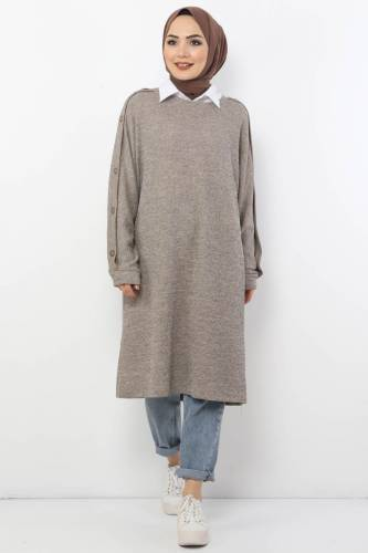 Tesettür Dünyası - Large Size Button Detailed Tricot Tunic TSD6026 Mink