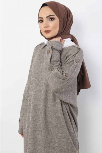Tesettür Dünyası - Large Size Button Detailed Tricot Tunic TSD6026 Mink (1)