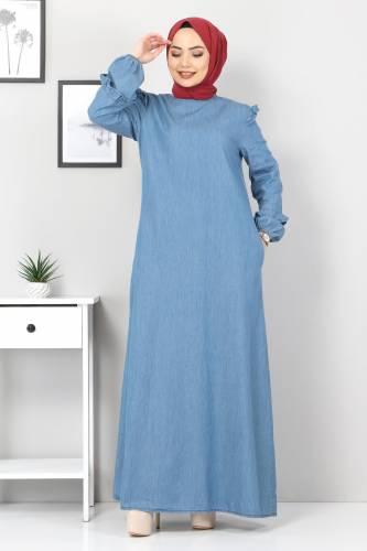 Tesettür Dünyası - Plus Size Jeans Dress TSD1558 Light Blue
