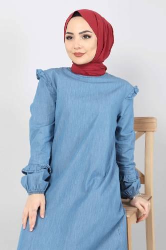 Tesettür Dünyası - Plus Size Jeans Dress TSD1558 Light Blue (1)