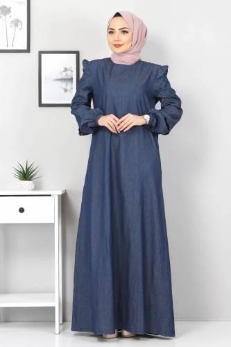 Tesettür Dünyası - Plus Size Ruffled Dress TSD1558 Navy Blue